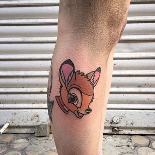 Bambi tattoo by Vinz Flag. #VinzFlag #popculture #cartoon #bold #color #bambi #disney