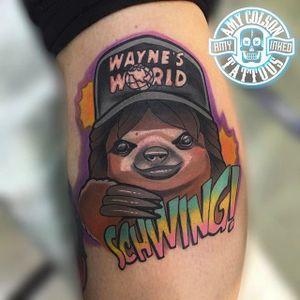 Sloth Wayne by Amy Lynn Colson (via IG -- amylynn.colson) #amylynncolson #waynesworld #waynesworldtattoo