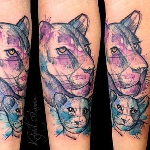 Mother and cub tattoo by Krystel Ivannie #lioness #lion #KrystelIvannie #cub #watercolor #sketch