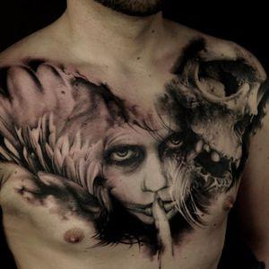 Creepy tattoo by Florian Karg #Florian Karg #trashstyle #trashart #trash #trashpolka #realistic #dark #horror #graphic #skull #portrait