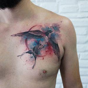 Cute watercolor mixed style swallow, by Paulo Victor Skaz (via IG—skazxim) #watercolor #freeform #animal #creature #PauloVictorSkaz #colorful
