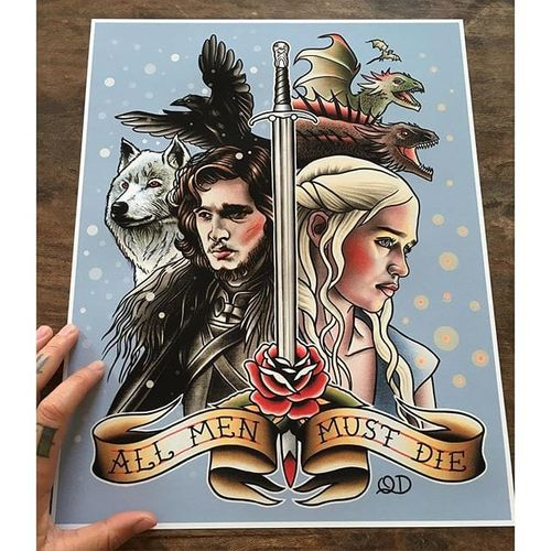 'Game of Thrones' flash painting by Quyen Dinh. #QuyenDinh #parlortattooprint #flash #tattooflash #paintings #flashpaintings #traditional #popculture #artist #FlashFriday