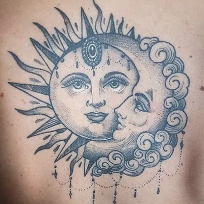 Sun and moon by Flo Nuttall #FloNuttall #sun #moon #blackwork #tattoooftheday