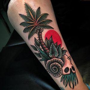 Palm Tree Tattoo by Victor Vaclav #palmtree #treetattoo #tropicaltattoo #traditionaltattoos #VictorVaclav