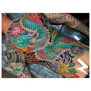 Colorful dragon back piece by Rory Pickersgill. #japanese #traditionaljapanese #backpiece #draon #flowers #RoryPickersgill