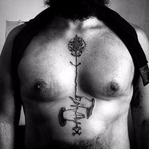 Mysterious tattoo by Caroline Vitelli #CarolineVitelli #blackwork #engraving #botanical