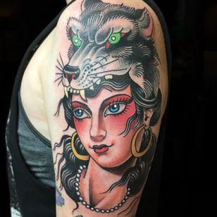 Wolf Lady. (via IG - dannyderrick) #DannyDerrick #Traditional #TraditionalLady