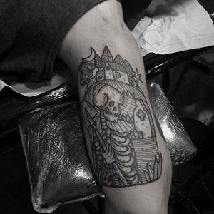 digger skeleton tattoo by @kolahari #kolaharitattoo #black #blackwork #linework #thecirclelondonsoho #skeleton