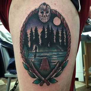 Traditional style Friday the 13th Camp Crystal Lake piece by Shane Murphy. #traditional #Fridaythe13th #CrystalLake #CampCrystalLake #horror #ShaneMurphy