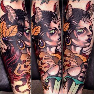 Neo traditional tattoo by Manu Cruz #Demon #girl #horns #sword #ManuCruz