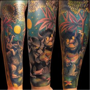 """A Maurice Sendak """"Where the Wild Things Are"""" sleeve by unknown artist. #Caldetatts #childrensbooks #MauriceSendak #WheretheWildThingsAre"""