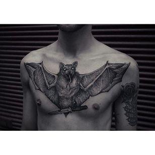 Blackwork bat tattoo by Robert Borbas. #RobertBorbas #Grindesign #bat #blackwork #horror #dark #dotwork #chestpiece
