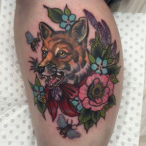 Neo traditional flower and fox piece by Ebony Mellowship. #neotraditional #EbonyMellowship #flowers #fox #bee