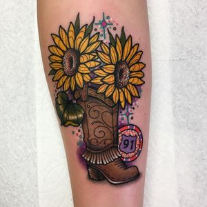 Tattoo by Roberto Euan #RobertoEuan #newtraditional #memorial #lasvegas #sunflowers #route91 #flowers #leaves #nature #cowboyboot #boot #sparkle #glitter