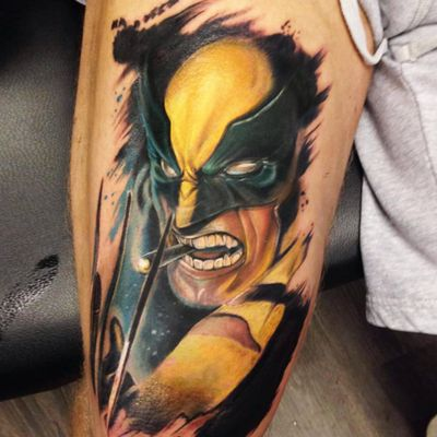 A comic book style portrait of Wolverine smoking a cigar by Dave Brace (IG—brasso_tattoo). #DaveBrace #Logan #Wolverine #XMen