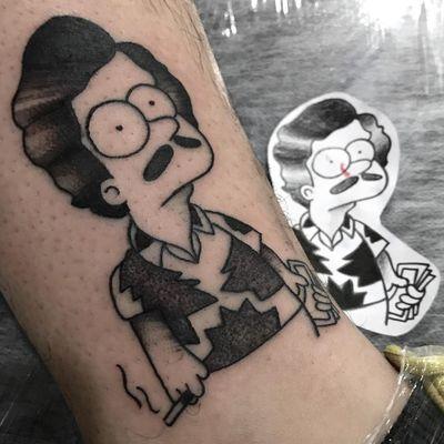 Pablo Escobarte tattoo by Felipe Fego #FelipeFego #portraittattoos #blackandgrey #BartSimpson #PabloEscobar #smoking #cigarette #money #TheSimpsons #mustache #cartoon