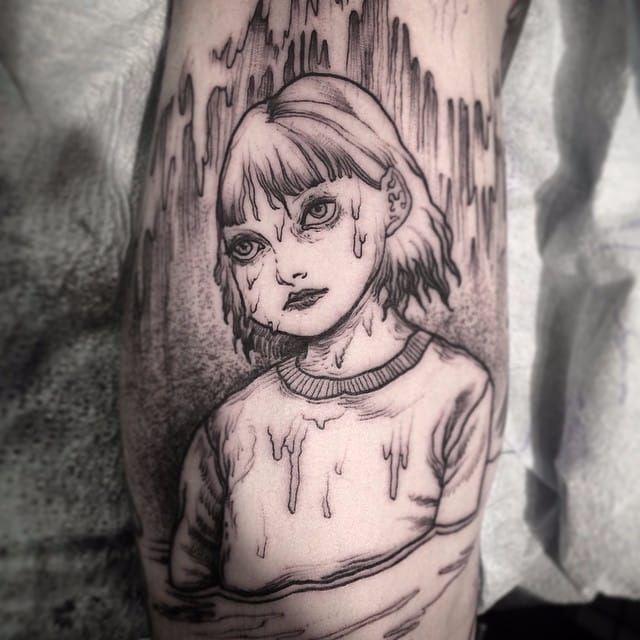 Blackwork tattoo by Nomi Chi. #NomiChi #blackwork #haunting #macabre #tomie #junjiito #manga #btattooing #blckwrk