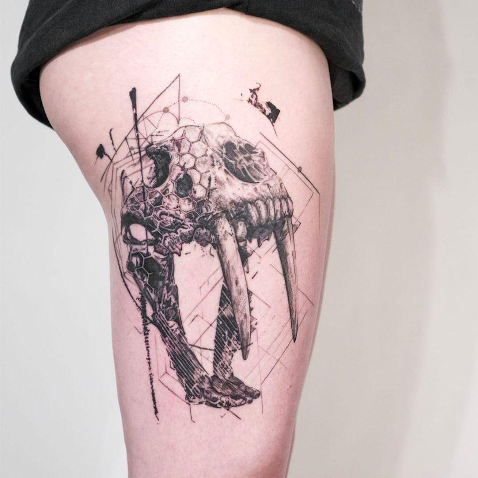'Wide-eyed Believer' by Mowgli #mowgli #mowgliartist #throughmythirdeye #blackwork #graphical #geometric #skull #dinosaur #sketch #sabertooth #london #pattern #avantgarde #inprogress