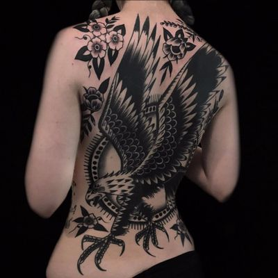 The Eagle Has Landed by Austin Maples #AustinMaples #blackwork #traditional #blackandgrey #rose #flowers #eagles #pattern #feathers #wings #backpiece #eagle #tattoooftheday