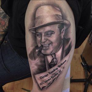 A portrait of Al Capone by Ryan Mullins (IG—ryanmullinsart). #AlCapone #blackandgrey #portraiture #realism #RyanMullins