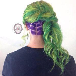 Undercut hair tattoo by Jessie J. Hall. #undercut #hair #trend #cobweb #spiderweb