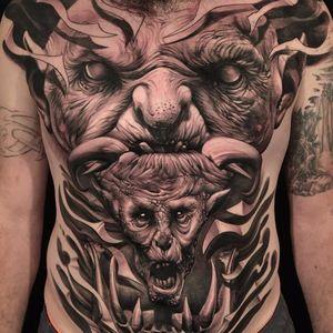 Labyrinth-like Goblins by Matt Jordan #mattjordan #realism #realistic #hyperrealism #blackandgrey #goblins #demon #horns #horror #devil #fire #sculpture #statue #fangs #tattoooftheday