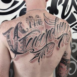 The Guardian Lettering Tattoo by Sam Taylor @SamTaylorTattoos #SamTaylorTattoos #Southsidecustomlettering #Black #Lettering #LetteringTattoo #Australia #TheGuardian
