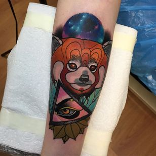 Red Panda Tattoo by Piotr Gie #NeoTraditional #NeoTraditionalArtist #NeoTraditionalTattoos #ModernTattoos #BoldTattoos #PiotrGie