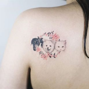Gang's all Here via instagram soltattoo #dog #cat #Cattoo #pet #petportrait #flowers #color #microtattoo #soltattoo