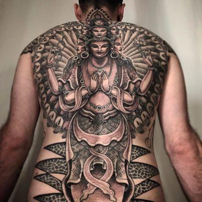 Lakshmi tattoo by Jondix #Jondix #blackandgrey #Hindu #deity #goddess #Buddhist #pattern #face #portrait #lady #lotus #shell #sacredgeometry #mandala #jewelry #crown #thirdeye #hand #tattoooftheday