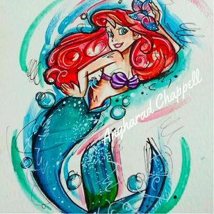 The Little Mermaid tattoo design by Angharad Chappell #AngharadChappell #Disney #Ariel #TheLittleMermaid
