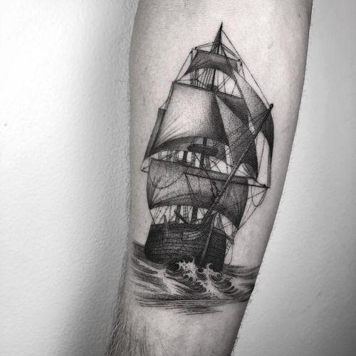 Ship at sea tattoo by Nathan Kostechko #NathanKostechko #blackandgrey #illustrative #ocean #ship #boat #waves #sails #sea #detailed #linework