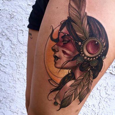 Warrior Woman tattoo by Matt Tischler #MattTischler #color #neotraditional #ladyhead #lady #portrait #nativeamerican #warrior #warpaint #jewelry #pearls #feathers #sun #light #tattoooftheday