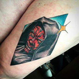 Darth Maul Tattoo by Matt Youl @Theyoul #Mattyoultattoo #Neotraditional #Nerdytattoo #Portrait #Darthmaul #Starwars