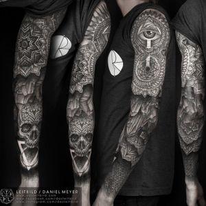 ##blackandgrey #blackwork #sleeve #skull #allseeingeye #geometric #mandala #DanielMeyer