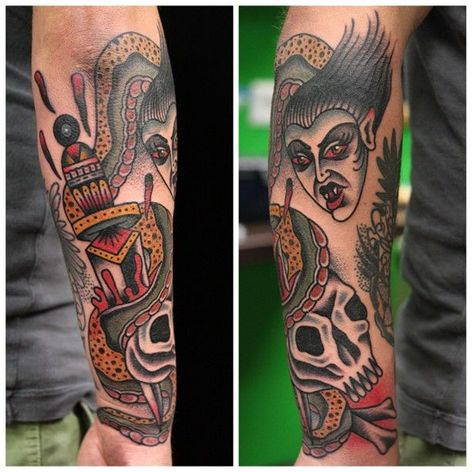 #alexwild #traditional #bold #skull #dagger #snake