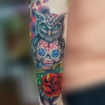 Tattoo done by Allen Espinoza #redshorestattoo #texas #owl #sugarskull #rose