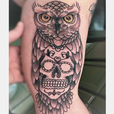 Got a nice little start on this one today. I used a black wash I made. Larry Shaw gave me a bottle of Papillon Black years ago and when I almost ran out I made a wash bottle. Best pre-mixed grey was I have ever used! #cleantattooing #blackworkers #3rdgenerationink #owltattoo #owl #owls #dayofthedead #dayofthedeadtattoo