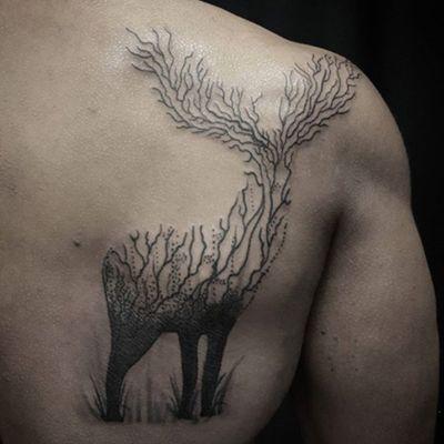 Deer done by Dillon Ramsubhag (dillyboyink) #newyork #blackwork #hunting #nature #deer #stag