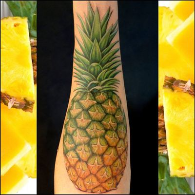 A Perfect Pineapple by Wilhelm Just in time for Maine's Next Snow Fall #pineappletattoo #wilhelmscherertattoos #sanctuarytattoo #sanctuarytattooer #sanctuarytattooers #fruit #pineapple #fruittattoo