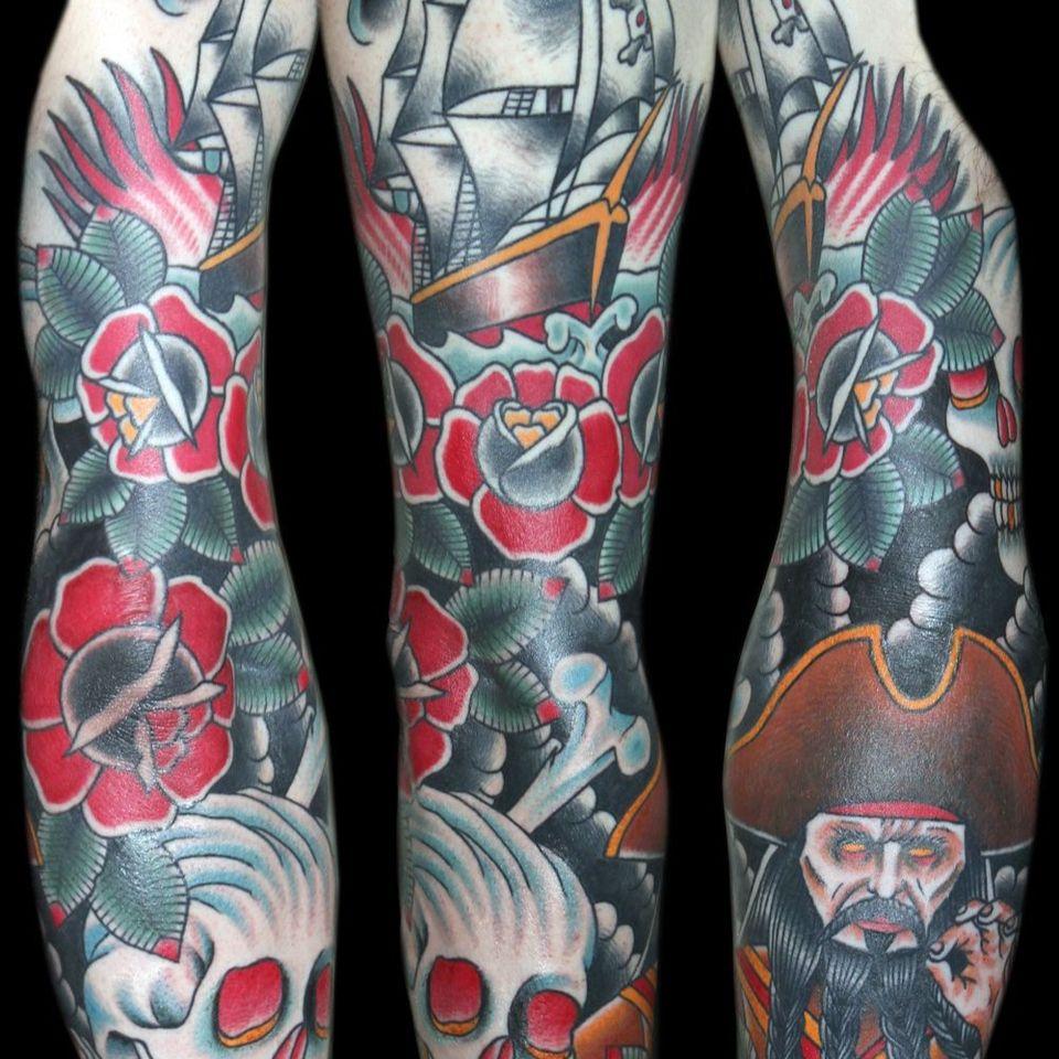 #traditional #sleeve #pirate #skull #rose #tattoo
