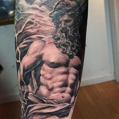 Full sleeve in progress. Poseidon. #blackfishtattoo #blackfishtattoonyc #blackandgreytattoo #realistictattoo #realismtattoo #nyctattoo #poseidon #tattoosleeve #poseidontattoo #blackandgreysleeve