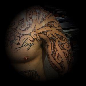 Moving onto chest #maori #moko #tattoo #shoulder