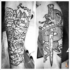 Nº253 half sleeve (2nd session & DONE) #tattoo #tattoos #tatuaje #tatuajes #ink #inked #flower #roses #rosetattoo #thornes #leafs #snake #snaketattoo #dagger #daggertattoo #eternalink #liningblack #tripleblack #bylazlodasilva