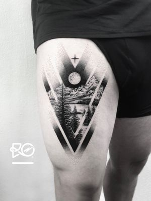 By RO. Robert Pavez • Mountain Light ➖ Studio Zoi tattoo Stockholm 🇸🇪 • 2018  • #engraving #dotwork #etching #dot #linework #geometric #ro #blackwork #blackworktattoo #blackandgrey #black #tattoo #fineline