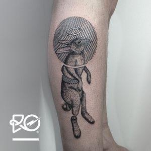 By RO. Robert Pavez • Beyond the Rabbit • #engraving #dotwork #etching #dot #linework #geometric #ro #blackwork #blackworktattoo #blackandgrey #black #tattoo #rabbit