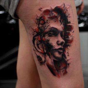 Tattooed this Today  #Face #tattoo #tattoos #tattooed #tattooartist #portrait #blackandgreytattoo #abstract #draw #ink #inkjecta #today #realism #lifestyle #ink #grey #more #tattooedgirls #tattooart #stuttgart #brücke #waytattoo #underarmtattoo