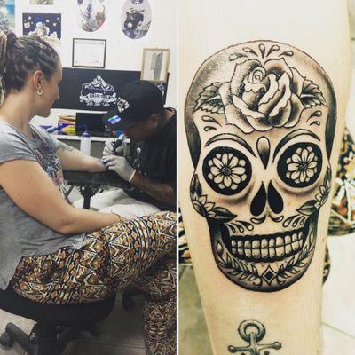 Tattoo from Belize😍 #skull #skulltattoo #belize #sugarskull #blackandgrey #forearmtattoo