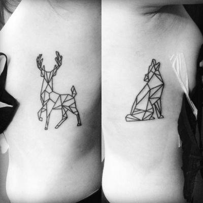 #origami #blackwork #minimal tattoo done by LAN at La verite est ailleurs #bordeaux
