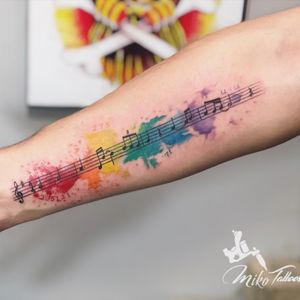Musical with watercolor.         #watercolortattoo #musicaltattoo #musicalnote #musicalsymbols
